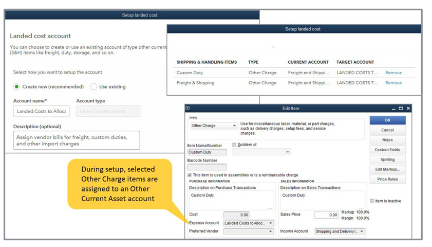 Quickbooks Landed Cost Example Image 1