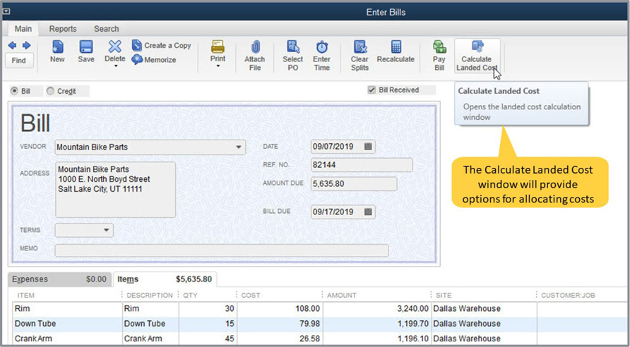Quickbooks Landed Cost Example Image 3