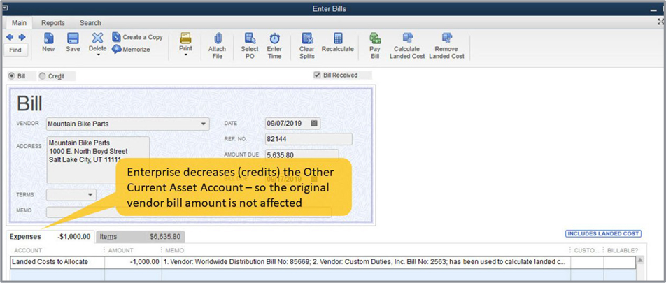 Quickbooks Landed Cost Example Image 7