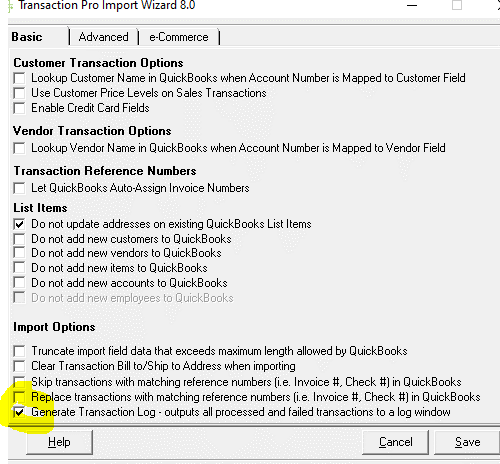 Generate Transaction Log  Example
