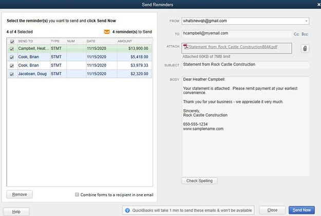 Quickbooks Payment Reminders Example Image 3