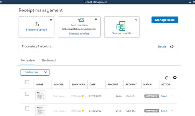 Quickbooks Receipt Managment Example Image 1